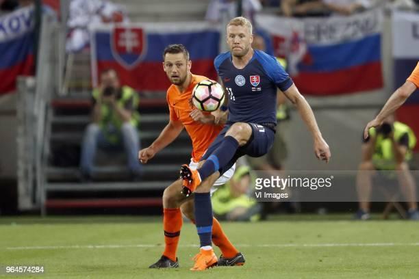 Stefan de Vrij of Holland Adam Nemec of Slovakia during the International friendly match between Slovakia and The Netherlands at Stadium Antona...