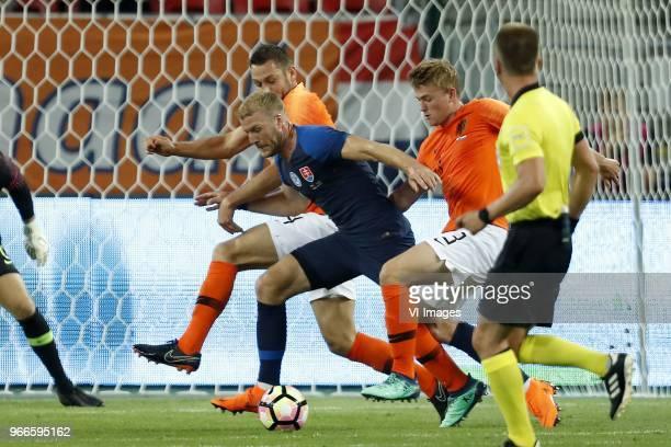 Stefan de Vrij of Holland Adam Nemec of Slovakia Matthijs de Ligt of Holland during the International friendly match between Slovakia and The...