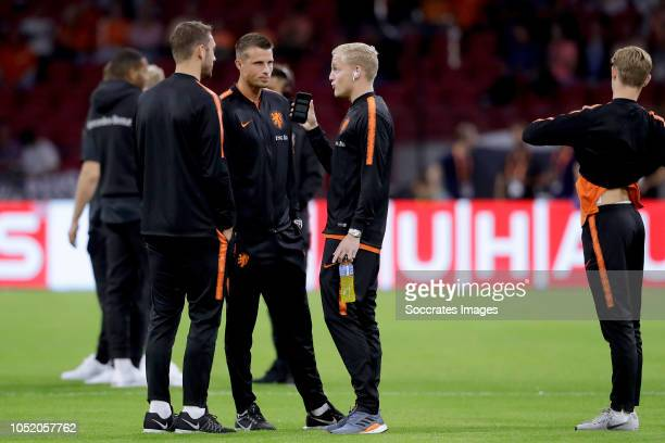 Stefan de Vrij of Holland Hans Hateboer of Holland Donny van de Beek of Holland during the UEFA Nations league match between Holland v Germany at the...