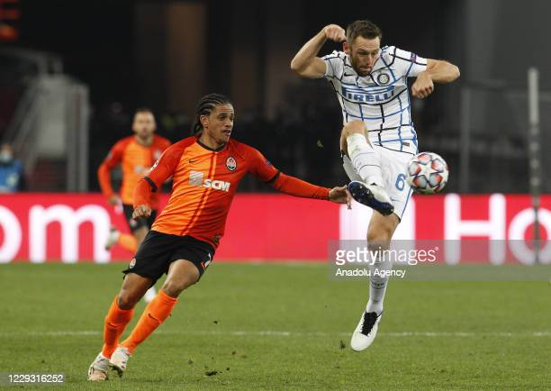 Stefan de Vrij of Inter in action against Taison of Shakhtar during the UEFA Champions League Group B football match between Shakhtar Donetsk and...