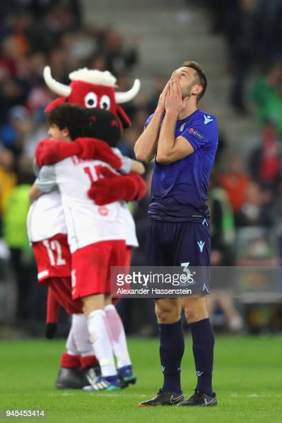Stefan de Vrij of Lazio reacts after the UEFA Europa League quarter final leg two match between RB Salzburg and Lazio Roma at Stadion Salzuburg on...