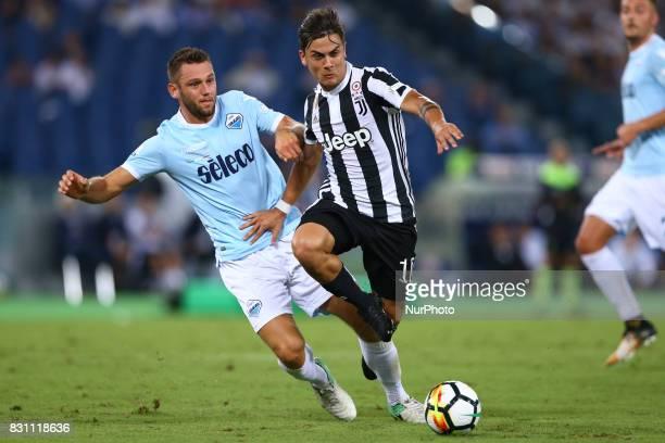 Stefan de Vrij of Lazio vies Paulo Dybala of Juventus during the Italian SuperCup TIM football match Juventus vs lazio on August 13 2017 at the...