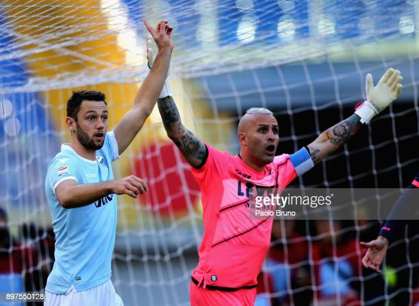 Stefan De Vrij of SS Lazio and FC Crotone goalkeeper Alex Cordaz react during the serie A match between SS Lazio and FC Crotone at Stadio Olimpico on...