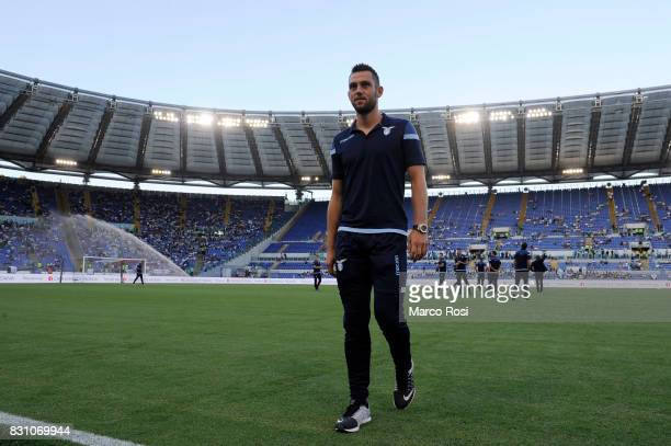 Stefan De Vrij of SS Lazio before the Italian Supercup match between Juventus and SS Lazio at Stadio Olimpico on August 13 2017 in Rome Italy