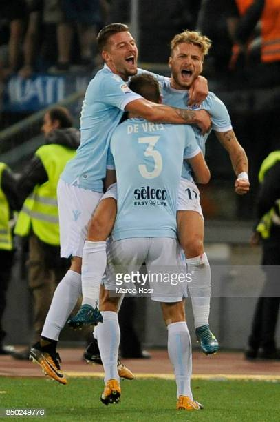 Stefan De Vrij of SS Lazio celebrates a opening goal with his team mate during the Serie A match between SS Lazio and SSC Napoli at Stadio Olimpico...