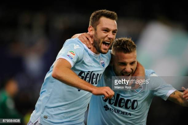 Stefan De Vrij of SS Lazio celebrates a opening goal with his team mates during the Serie A match between SS Lazio and ACF Fiorentina at Stadio...
