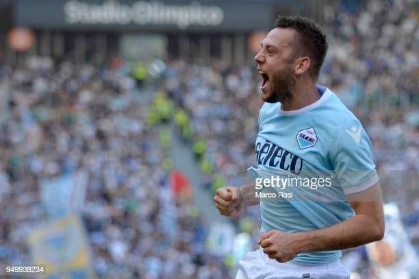 Stefan De Vrij of SS Lazio celebrates a second goal during the serie A match between SS Lazio and UC Sampdoria at Stadio Olimpico on April 22 2018 in...