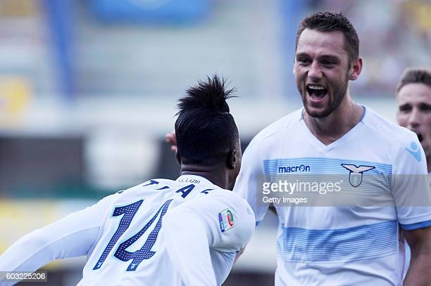 Stefan De Vrij of SS Lazio celebrates after scoring his team first goal during the Serie A match between AC Chievo Verona and SS Lazio at Stadio...