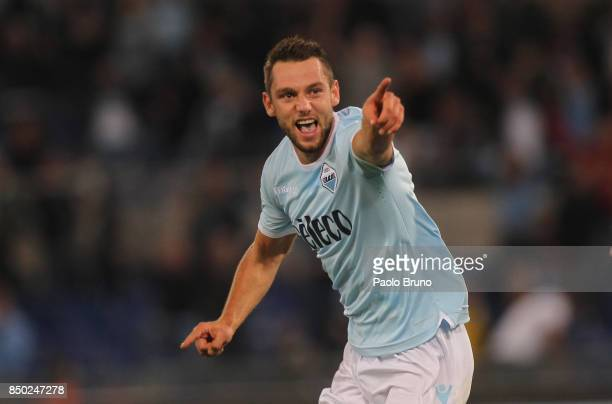 Stefan De Vrij of SS Lazio celebrates after scoring the opening goal during the Serie A match between SS Lazio and SSC Napoli at Stadio Olimpico on...
