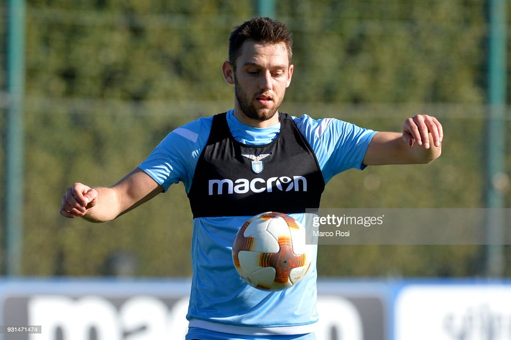 Stefan De Vrij of SS Lazio during a training session on March 13, 2018 in Rome, Italy.