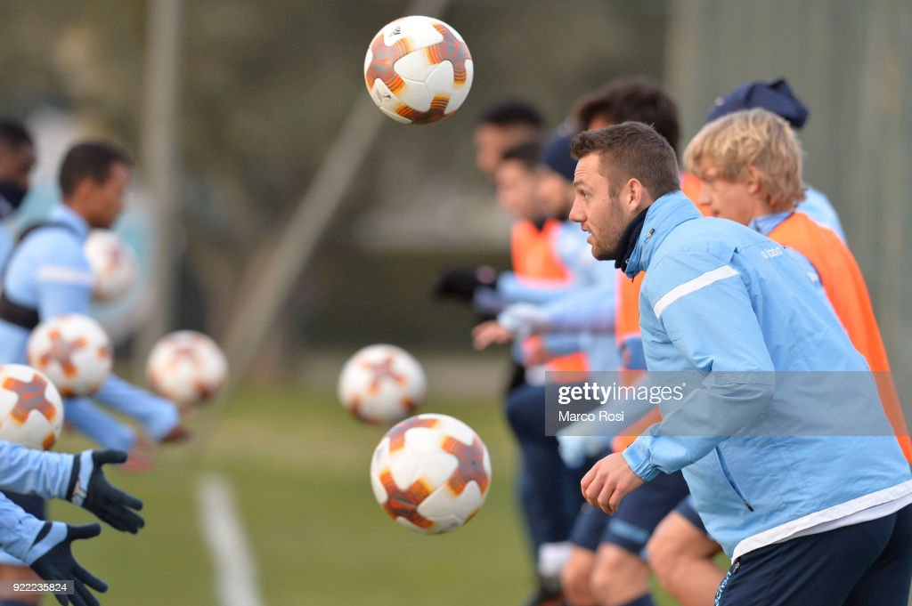 Stefan De Vrij of SS Lazio during the SS Lazio training session on the eve of their UEFA Europa Match against Steaua Bucharest on February 21, 2018 in Rome, Italy.