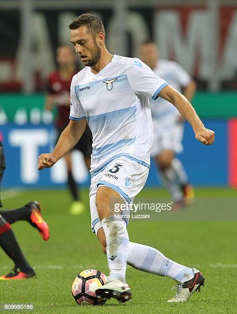 Stefan de Vrij of SS Lazio in action during the Serie A match between AC Milan and SS Lazio at Stadio Giuseppe Meazza on September 20 2016 in Milan...