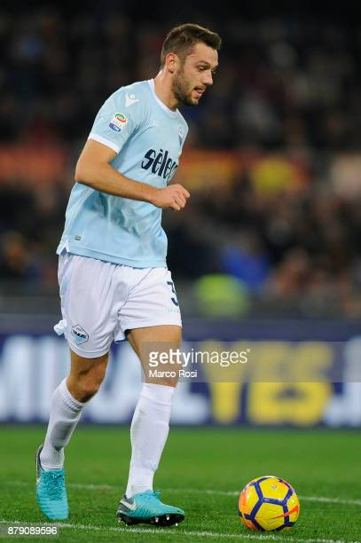 Stefan De Vrij of SS Lazio in action during the Serie A match between AS Roma and SS Lazio at Stadio Olimpico on November 18 2017 in Rome Italy