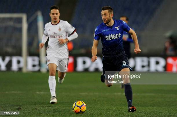 Stefan De Vrij of SS Lazio in action during the TIM Cup match between SS Lazio and AC Milan at Olimpico Stadium on February 28 2018 in Rome Italy