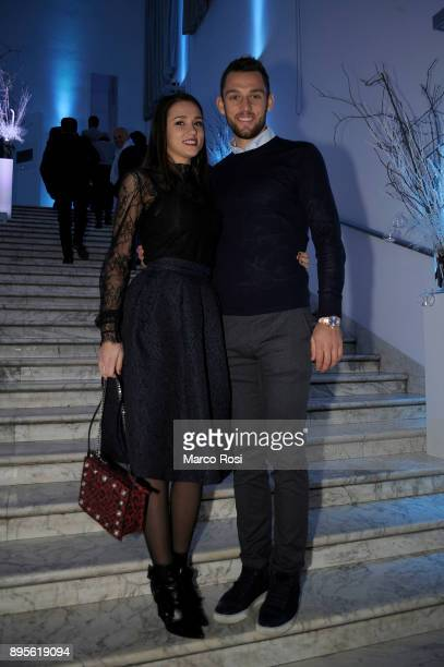 Stefan De Vrij of SS Lazio with his wife and this theeir cildren pose during the SS Lazio Christmas Party on December 19 2017 in Rome Italy
