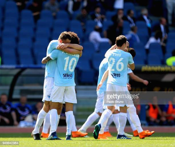 Stefan De Vrij with his teammate Felipe Anderson of SS Lazio celebrates after scoring the team's second goal during the serie A match between SS...