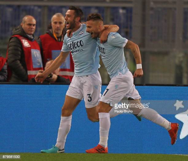 Stefan De Vrij with his temmate Ciro Immobile of SS Lazio celebrates after scoring the opening goal during the Serie A match between SS Lazio and ACF...