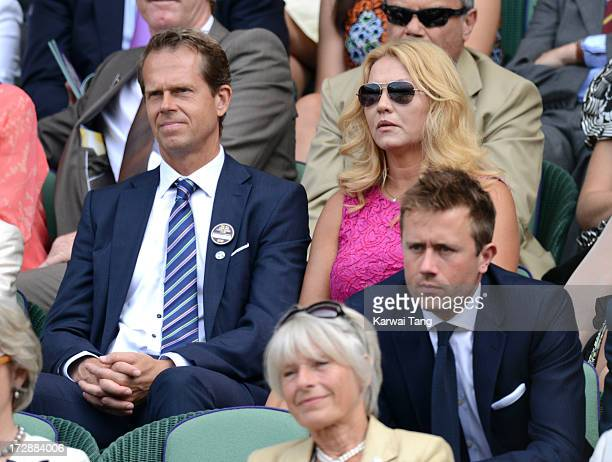 Stefan Edberg and Annette Edberg attend Day 11 of the Wimbledon Lawn Tennis Championships at the All England Lawn Tennis and Croquet Club on July 5...