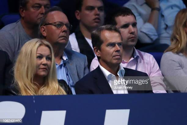 Stefan Edberg and his wife Annette Hjort Olsen looks on from the stands during the singles match between Novak Djokovic of Serbia and Marin Cilic of...