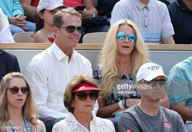 Stefan Edberg and his wife Annette Olsen Edberg attend the third round victory of Roger Federer of Switzerland during day 6 of the 2019 French Open...