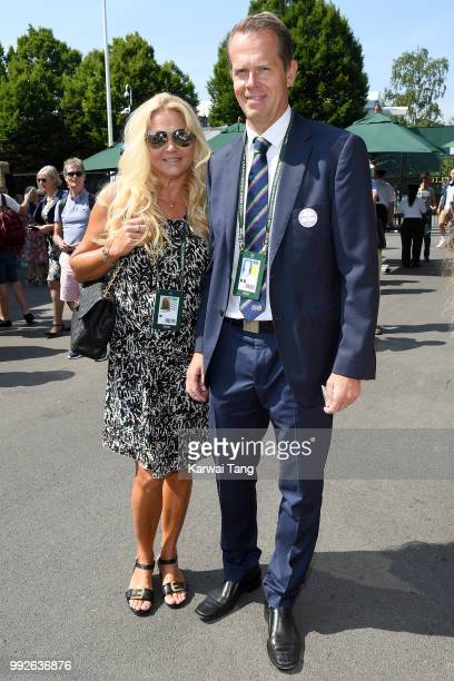 Stefan Edberg and wife Annette Hjort Olsen attend day five of the Wimbledon Tennis Championships at the All England Lawn Tennis and Croquet Club on...