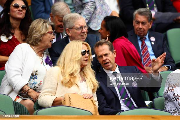 Stefan Edberg and wife Annette look on from the centre court royal box prior to the Gentlemen's Singles final between Roger Federer of Switzerland...