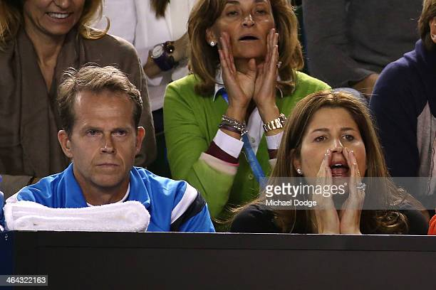 Stefan Edberg coach and Mirka Federer wife of Roger Federer of Switzerland watches him in his quarterfinal match against Andy Murray of Great Britain...