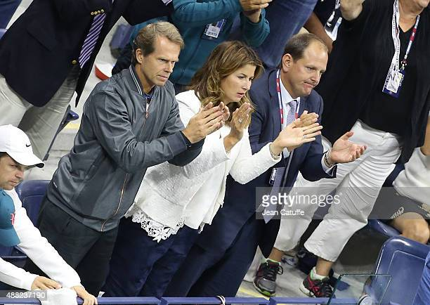 Stefan Edberg coach of Roger Federer Mirka Federer his wife and Tony Godsick his agent react during the Men's Singles Final match on day fourteen of...