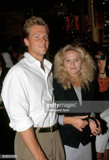 Stefan Edberg of Sweden and his girlfriend Annette Olsen pose together during the Players' Party at the Planet Hollywood restaurant in Melbourne...