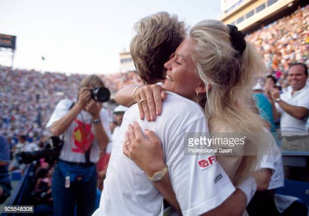 Stefan Edberg of Sweden hugging girlfriend Annette Olsen in celebration after defeating Jim Courier of the USA in the Men's Singles Final of the US...