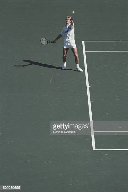 Stefan Edberg of Sweden serves to Miloslav Mecir during the Men's Singles Semi Final match on 30 September 1988 during the XXIV Olympic Summer Games...