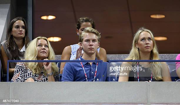 Stefan Edberg's family his wife Annette Hjort Olsen their son Christopher Edberg and his daughter Emilie Edberg attend day ten of the 2015 US Open at...
