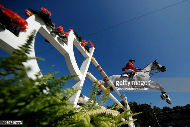 Stefan Eder of Austria riding Dr Scarpo competes during Day 4 of the Longines FEI Jumping European Championship 2nd part, team Jumping 1st round...