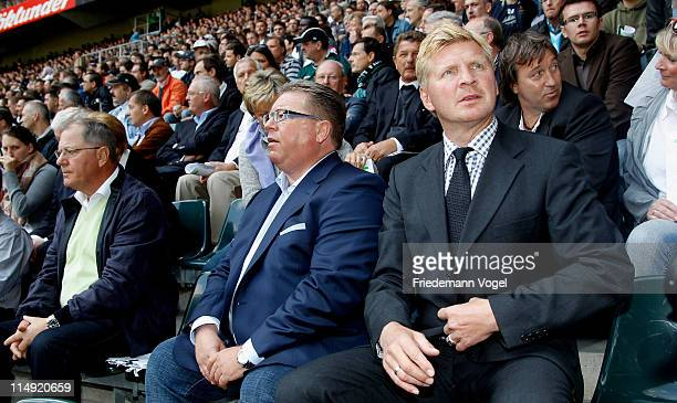 Stefan Effenberg and Georg Hendricks attend the Borussia M'Gladbach annual general meeting at Borussia Park Stadium on May 29 2011 in...