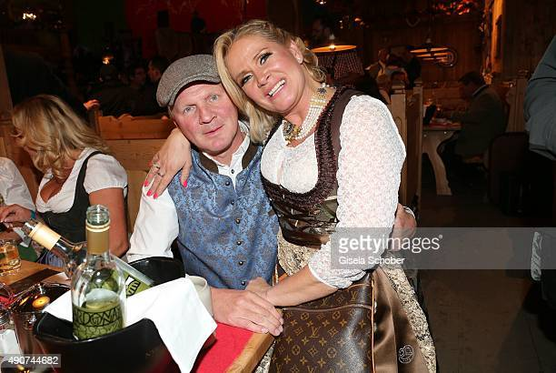 Stefan Effenberg and his wife Claudia Effenberg during the Oktoberfest 2015 at Weinzelt / Theresienwiese on September 30, 2015 in Munich, Germany.