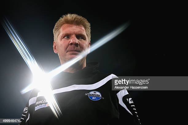 Stefan Effenberg head coach of Paderborn looks on prior to the Second Bundesliga match between 1 FC Nuernberg and SC Paderborn 07 at GrundigStadion...