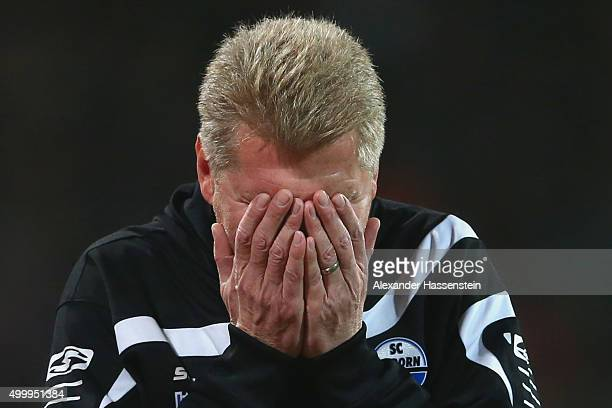 Stefan Effenberg head coach of Paderborn reacts during the Second Bundesliga match between 1 FC Nuernberg and SC Paderborn 07 at GrundigStadion on...