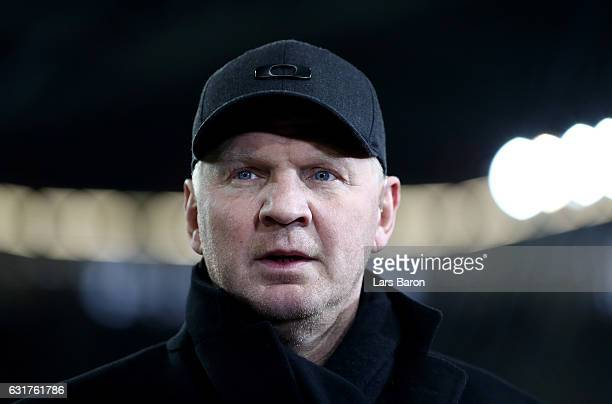 Stefan Effenberg is seen during the Telekom Cup 2017 match between Fortuna Duesseldorf and Bayern Muenchen at Esprit-Arena on January 14, 2017 in...