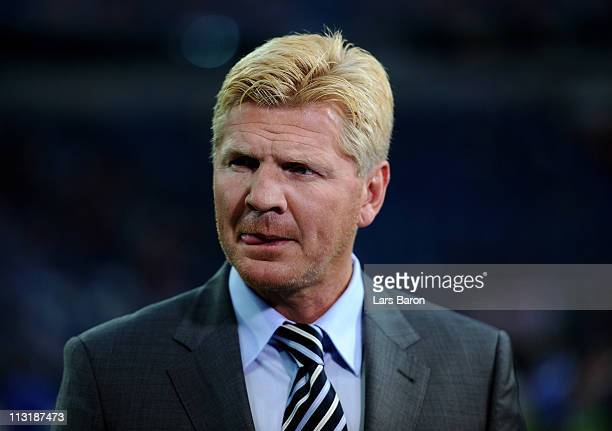 Stefan Effenberg looks on prior to the UEFA Champions League Semi Final first leg match between FC Schalke 04 and Manchester United at Veltins Arena...