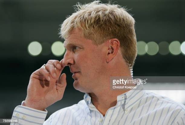 Stefan Effenberg looks thoughtful during the Premiere Liga Cup match between FC Schalke 04 and Karlsruher SC at the LTU Arena on July 21 2007 in...