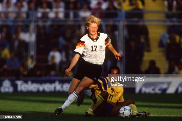 Stefan Effenberg of Germany during the European Championship match Germany and Sweden at Rasunda Stadium, Solna, Sweden on 21 June 1992