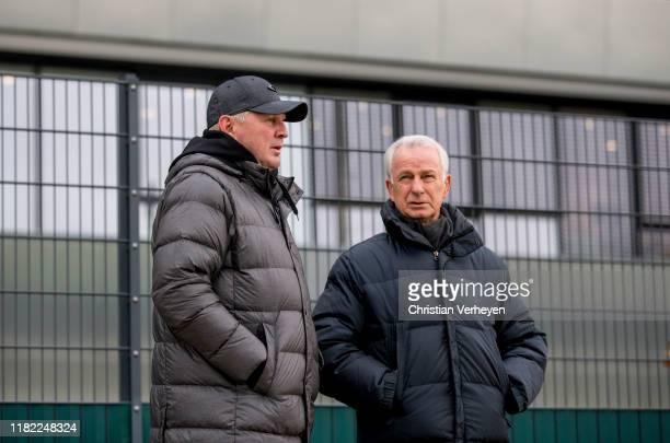 Stefan Effenberg of KFC Uerdingen and Vice President Rainer Bonhof of Borussia Moenchengladbach are seen during the friendly match between Borussia...