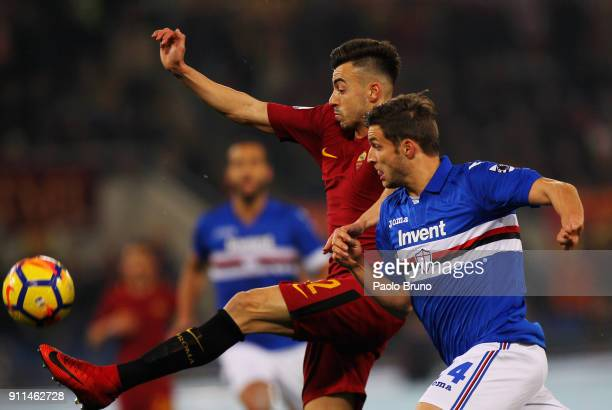 Stefan El Shaarawy of AS Roma competes for the ball with Bartsz Bereszynski of UC Sampdoria during the Serie A match between AS Roma and UC Sampdoria...