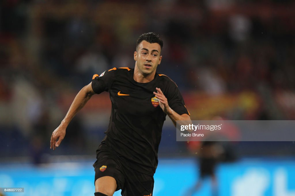 Stefan El Shaarawy of AS Roma in action during the Serie A match between AS Roma and Hellas Verona FC at Stadio Olimpico on September 16, 2017 in Rome, Italy.