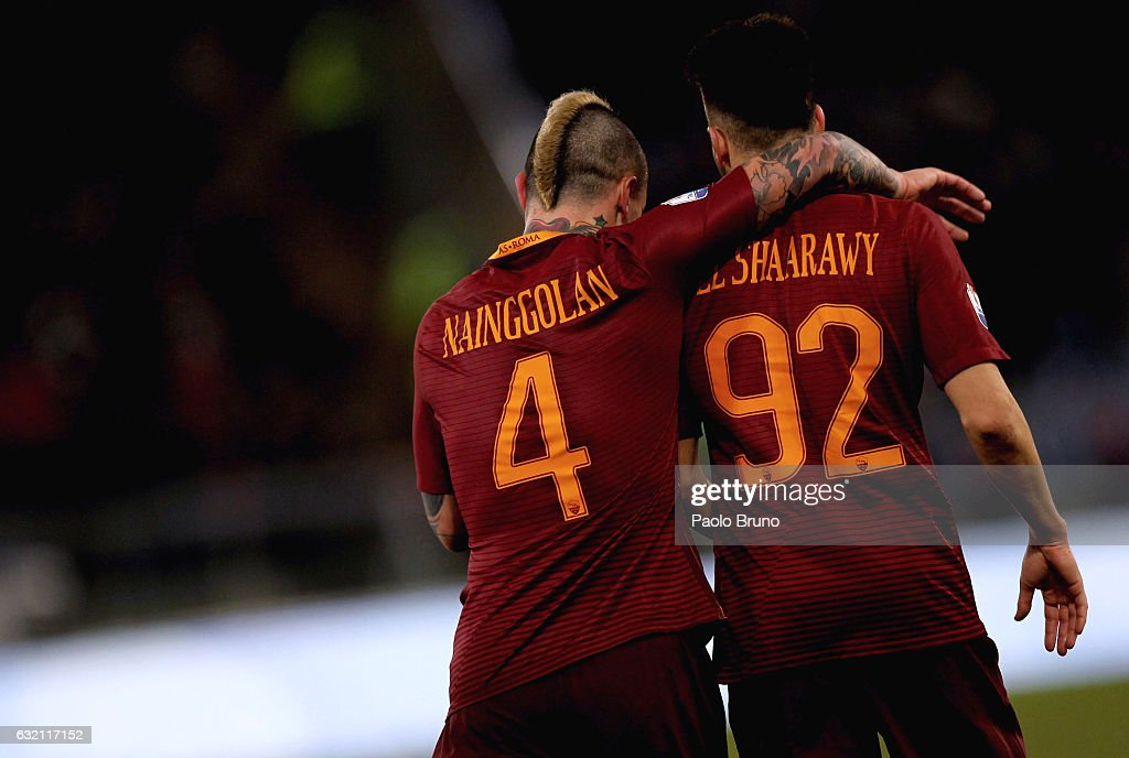 Stefan El Shaarawy with his teammate Radja Nainggolan of AS Roma celebrates after scoring the team's third goal during the TIM Cup match between AS Roma and UC Sampdoria at Stadio Olimpico on January 19, 2017 in Rome, Italy.