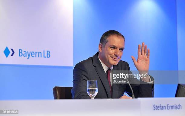 Stefan Ermisch chief executive officer of Bayerischen Landesbank gestures while speaking during a news conference in Munich Germany on Wednesday...