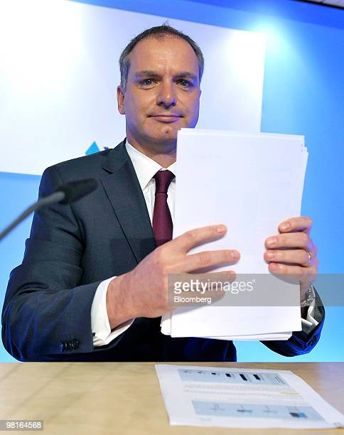 Stefan Ermisch chief executive officer of Bayerischen Landesbank prepares to leave a news conference in Munich Germany on Wednesday March 31 2010...