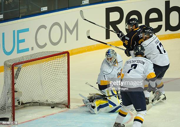 Stefan Falk of Jonkoping shoots a goal during the IIHF Champions Hockey League match between Espoo Blues and HV71 Jonkoping on October 29, 2008 in...