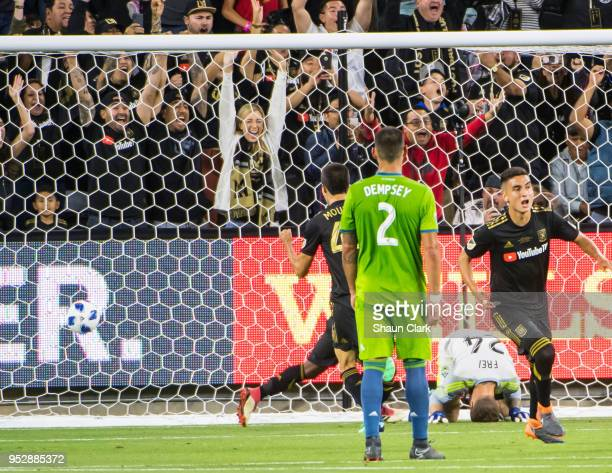 Stefan Frei of Seattle Sounders after missing the shot from Laurent Ciman of Los Angeles FC that won the game during Los Angeles FC's MLS match...