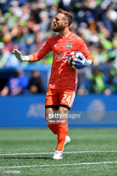 Stefan Frei of Seattle Sounders calms his team down during the second half of the match against the Los Angeles FC at CenturyLink Field on April 28...